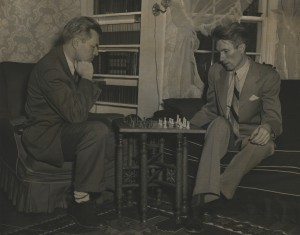 Earle (left) and Stanley (right) play chess when not playing or practicing.